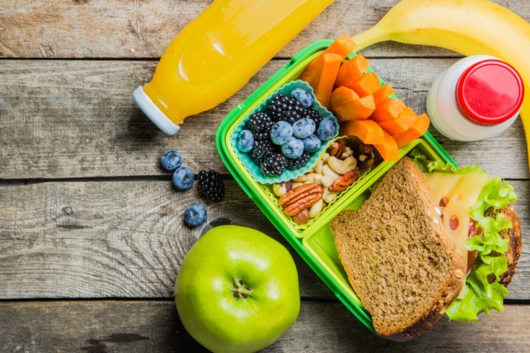 fruits and vegetables packed in a lunch box
