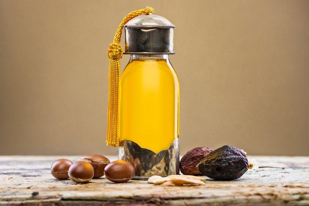 argan oil in a glass bottle