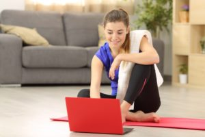 Female working out at home