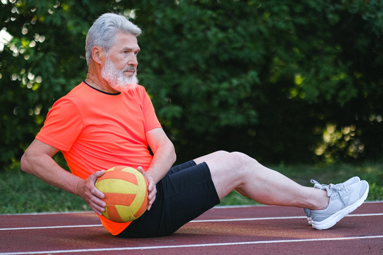 mature man doing exercise