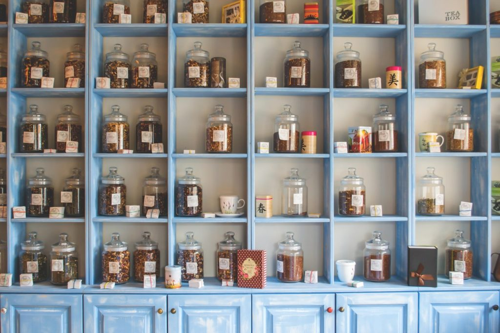 cupboard with herbal medicine